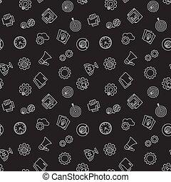 Startup dark seamless pattern. Vector background