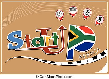 Startup  design made from the flag of Africa, conceptual vector illustration