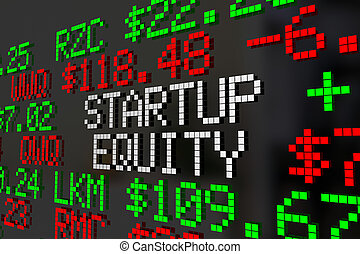 Startup Equity Stock Options Ticker Prices 3d Illustration