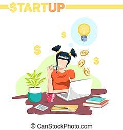 startup, executiva, jovem