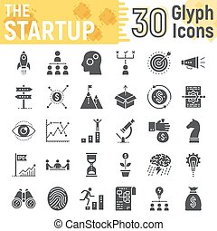 Startup glyph icon set, development symbols collection, vector sketches, logo illustrations, business finance signs solid pictograms package isolated on white background, eps 10.