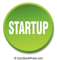 startup green round flat isolated push button