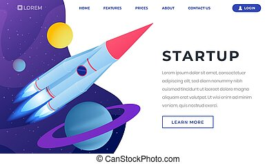 Startup ideas isometric landing page template. 3d spaceship, rocket flying in outer space, leaving solar system. Beginning new business, launching innovative startups website page design layout