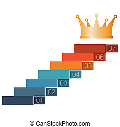 startup infographic 7 steps - Seven steps to crown. Template...