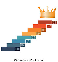 startup infographic 8 steps - Eight steps to crown. Template...