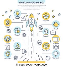 Startup Infographics in Flat Line Style