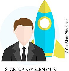 Startup Key Elements Flat Design Icon