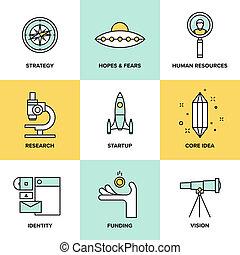 startup, kulcs, alapismeretek, lakás, ikonok, állhatatos