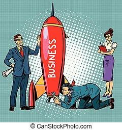 startup, lançamento foguete, negócio, homens negócios, ...