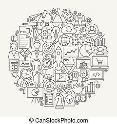 Startup Line Icons Circle