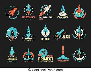Startup logo. Business launch perfect idea spaceship rocket ...