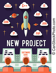 Startup. New project - Programmers are launching new web or...