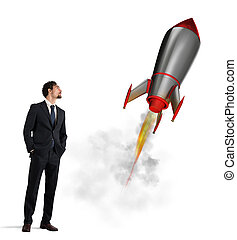 Startup of a new company with starting rocket. Concept of business growth