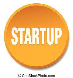 startup orange round flat isolated push button