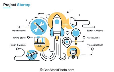 Startup process - Flat line design illustration of project ...