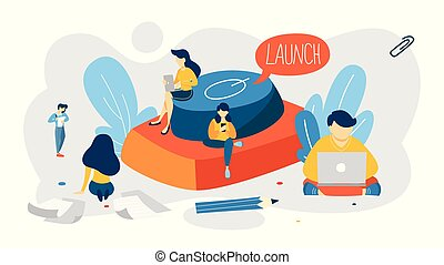 Startup project giant launch button. Business start concept.