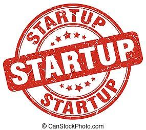 startup red grunge round vintage rubber stamp
