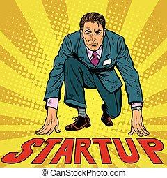 Startup retro businessman on starting line, pop art retro...