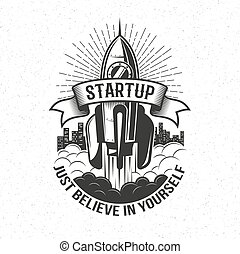 Startup retro logo - rocket launch in the sky
