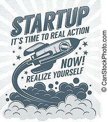 Startup retro poster with a rising rocket