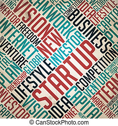 Startup - Retro Word Collage on Old Paper.