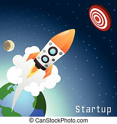 Startup Rocket Concept - Business startup concept with flat...