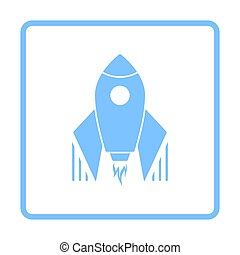 Startup Rocket Icon. Blue Frame Design. Vector Illustration.