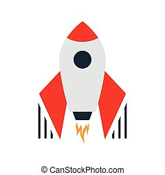 Startup Rocket Icon. Flat color design. Startup series. Vector illustration.