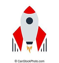 Startup Rocket Icon. Flat Color Design. Vector Illustration.