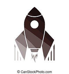 Startup Rocket Icon. Flat Color Ladder Design. Vector Illustration.