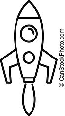 Startup rocket icon. Outline startup rocket vector icon for web design isolated on white background