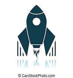 Startup Rocket Icon. Shadow Reflection Design. Vector Illustration.