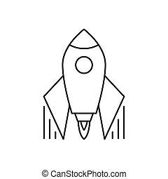 Startup Rocket Icon. Thin line design. Vector illustration.
