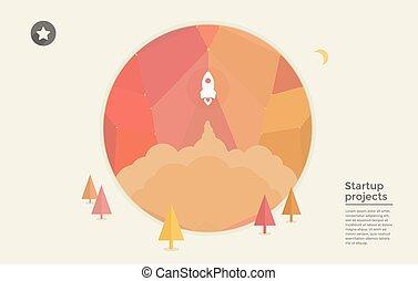 Flat design modern vector of rocket icon. Startup concept. Project development