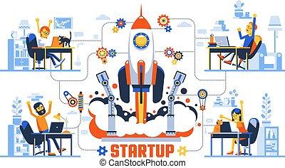 Startup rocket launch creative concept
