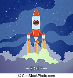 Startup concept with flat cartoon stylized rocket launch poster vector illustration