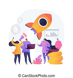 Startup, rocket launch, project start. Setting business, company founding. Teamwork, cooperation, partnership. Businesspeople cartoon characters. Vector isolated concept metaphor illustration.