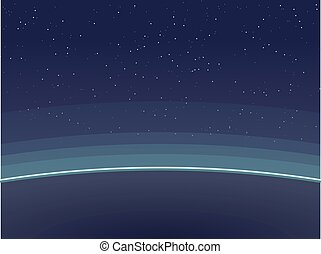 Horizontal poster of Earth, view from space. Aurora glowing on horizon and atmosphere circles.