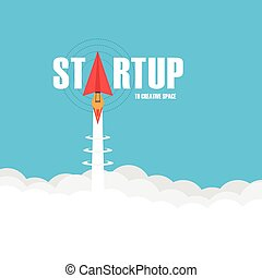 startup business concept, paper plane launch like rocket fly to creative space