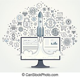 Startup rocket take off over computer monitor and set of icons, space rocket flying start up internet business concept, online finance, marketplace or shop, vector illustration.