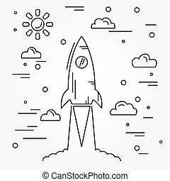 Startup. Rocket thin line icon. Vector.