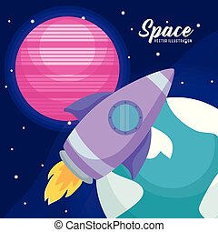 startup rocket with planets icons vector illustration design