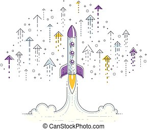 Startup rockets take off, space rockets flying start up...