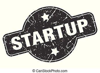 startup round grunge isolated stamp
