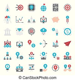 startup - Startup flat icon set, business concept, isolated...