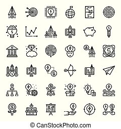 startup - Startup outline icon set, business concept,...