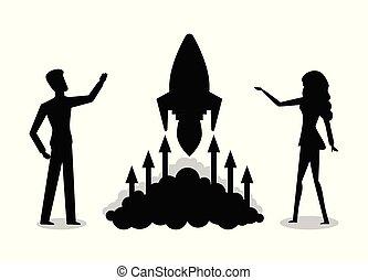 startup, társaság, rakéta, árnykép, indítás