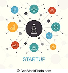 Startup trendy web concept with icons. Contains such icons as Crowdfunding, Business Launch, Motivation, Product development