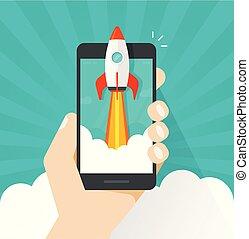 Startup vector concept, flat cartoon quick rocket or...