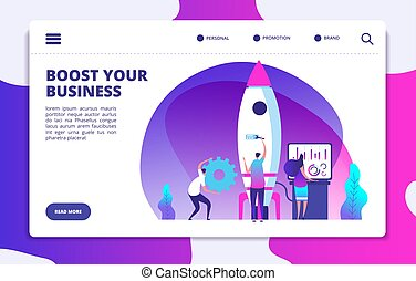 Startup website landing page. People launching rocket. Boost business easy. Customized vector concept. Rocket startup, launch and boost business illustration